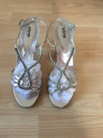 Pink Paradox London Silver Sandals Size 7