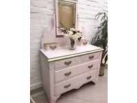 Pretty Whimsical Hand Painted Shabby Chic Dressing Table Chest of Drawers