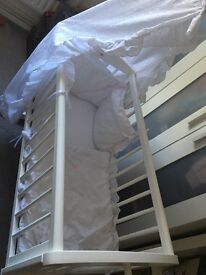 Swinging crib and bedding including mattress and canopy