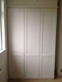 3 white Shaker style wardrobe doors 45 x 203 cm approx.