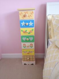 CHILDS SHABBY CHIC STYLE TALLBOY CHEST OF DRAWERS VERY UNIQUE VGC