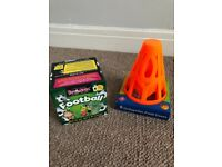 Football goal cones & football brain box card game both un opened and as new