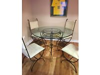 Round Glass Dinning Table & 4 Chairs.
