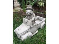Stone garden tortoise in car statue, lovely detail. New