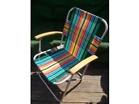 Retro Camping folding striped picnic deck chair VW Camper