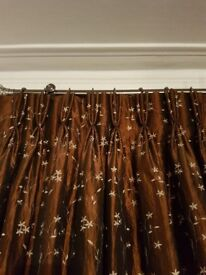 Custom made brown gorgeous lined curtains