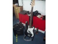 Bass Guitar and Fender Amp for sale with all leads