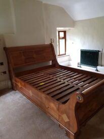Beautiful Elegant King Size Sleigh Bed Solid Wood Frame & Slats
