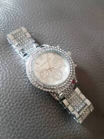 Mk crystal design silver watch