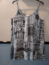 ladies PAPAYA black / white short sun dress