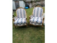 ARMCHAIRS. 2 x French style upholstered armchairs.