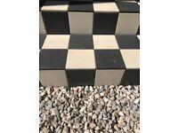 Dorset Woolliscroft outdoor ceramic floor tiles black and white- 3 opened boxes