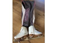 Girls ice skates size 1, SFR gold edition with bag, excellent condition
