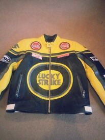 Real Leather lucky strike motor bike jacket