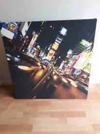 Large New York at night canvas