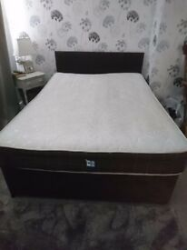 Double bed, mattress and headboard