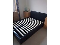Hygena black leather effect double ottoman bed good condition free mattress if wanted