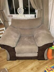 Dfs sofa natural colour and brown 3 seater 2 seater and chair