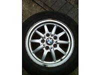 "BMW 15"" ALLOY WHEEL WITH DUNLOP TYRE"