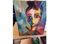 Canvas with oil, bright quirky painting original local artist, signed