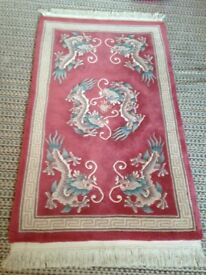 Chinese Rug (Dragon-Themed in Pink/Red/Green) Wool. EXCELLENT!