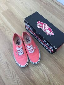 Authentic ladies Vans, UK size 6. Fusion coral/True white.