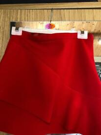 Red top shop mini skirt size 6