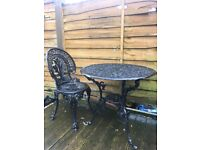 Lovely Ornate Cast Table & Chair Garden / Patio Can Deliver