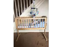 Mothercare swinging crib & Space Dreamer bed set & mobile