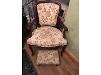 Classic Ladies Bedroom Chair And Footstool. Excellent Condition. Can Deliver.