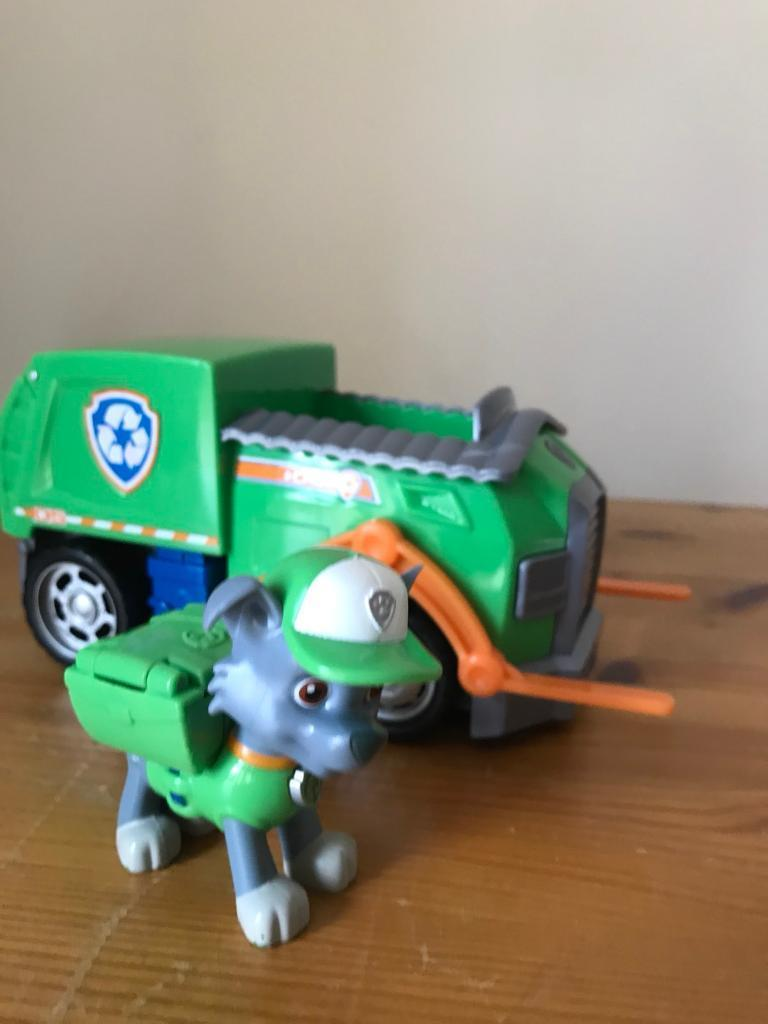 Paw Patrol Rocky character and Vehicle