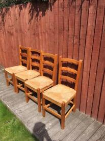 Four ladder back pine chairs, bargain can deliver