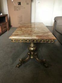 Retro honey toned marbled coffee table