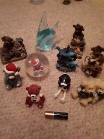 Various ornaments teddy. Glass fish. dolphins ball bear etc