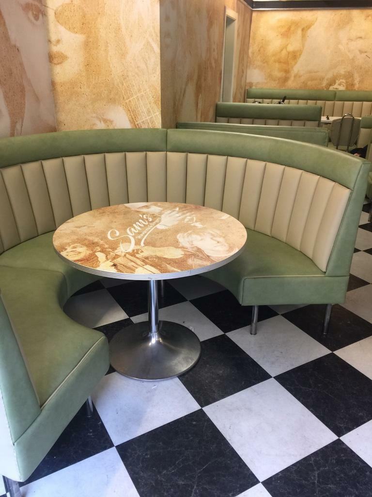 Real American Diner Table And Round Booth Retro S Vintage Look - Round booth table