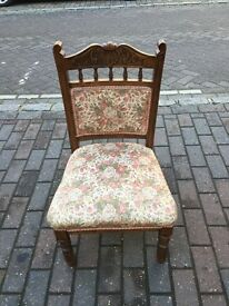 Antique Wooden Low Nursing Chair With Flower Pattern Seat And Back! Lovely Quality!