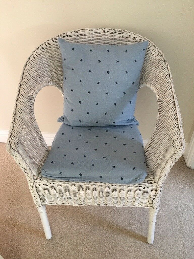 Ikea Wicker Agen Chair Painted White With Blue Star Cusions
