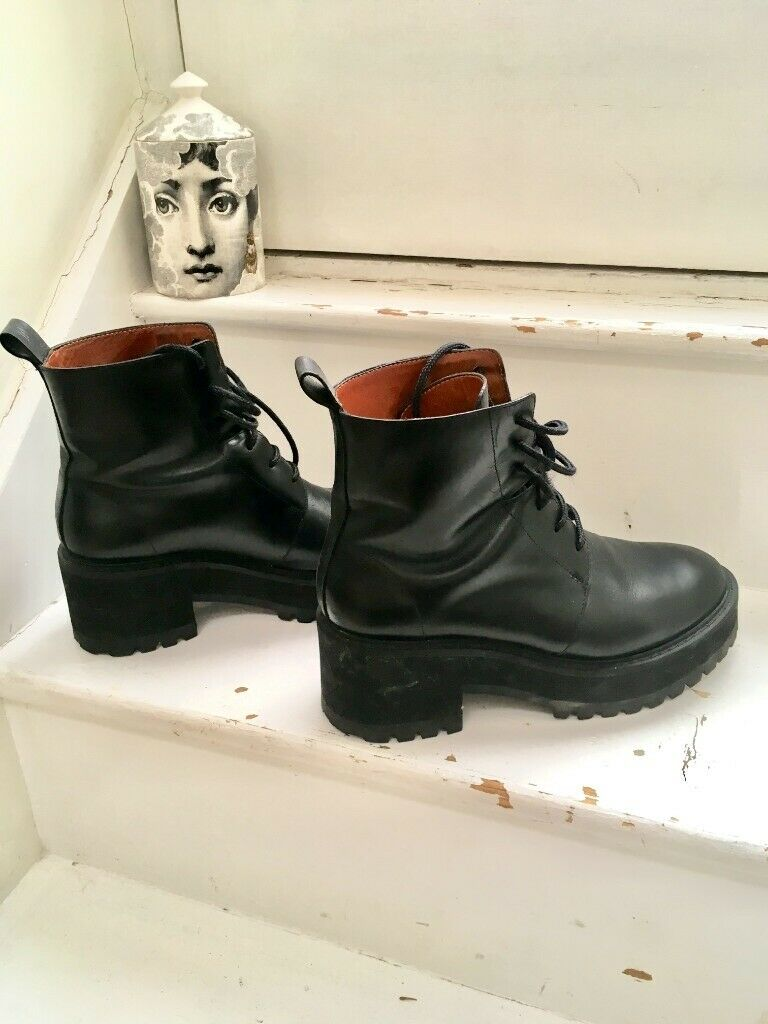4bf825e712e & Other Stories, black leather, chunky boots - Size UK 5, EU 38 | in  Kennington, London | Gumtree