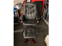 Leather swivel chair and stool