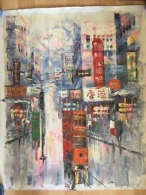 Oil on canvas painting - Hong Kong