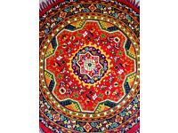 Traditional Persian Red 100% Wool Circular Tufted Rug Tassels 145cm's Diameter