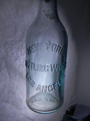 NEW YORK BOTTLING WORKS ~SODA BOTTLE ~ LOS ANGELES, NYBW, EMBOSSED