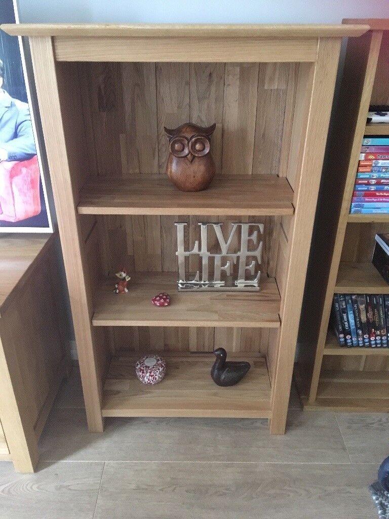Solid oak narrow low shelf unit, as new condition