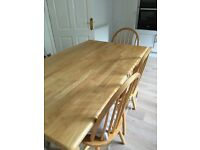 Beautiful banana wood dining/kitchen table and six chairs