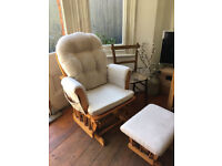 Kub Haywood Glider Nursing Chair and Footstool, Natural Wood Frame with Beige Cushions
