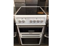 HOTPOINT free standing electric ceramic cooker 50 cm width white fully working order