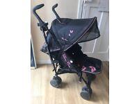 Silver cross pop black and pink stroller