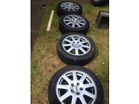 """ALLOY WHEELS 4 x 16"""", 5 spoke FIT FORD C-MAX, MONDEO used condition and tyres need replace"""