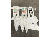 Bundle of baby sleepsuits and vests unisex first size/newborn