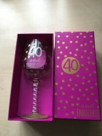 40th birthday wine glass in box